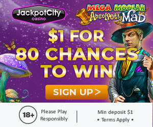 Jackpot City casino 80 chances to win for 1 dollar