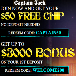 Captain Jack casino 50 free casino chip