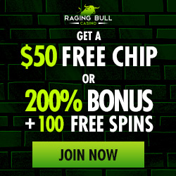 Raging Bull Casino 50 free plus 100 free spins